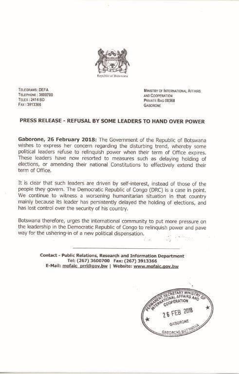 RDC : Le Botswana demande a Kabila de degager et de renoncer a sa propre succession en cas d'elections presidentielles anticipees