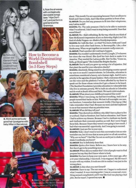 📷 Shakira fait la Couverture de « Glamour Magazine ». Janvier 2014 - Etats-Unis.