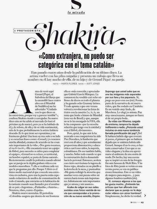 🎤 Shakira a donné une Interview à « S Moda Magazine ». Mars 2014 - Barcelone, Espagne.