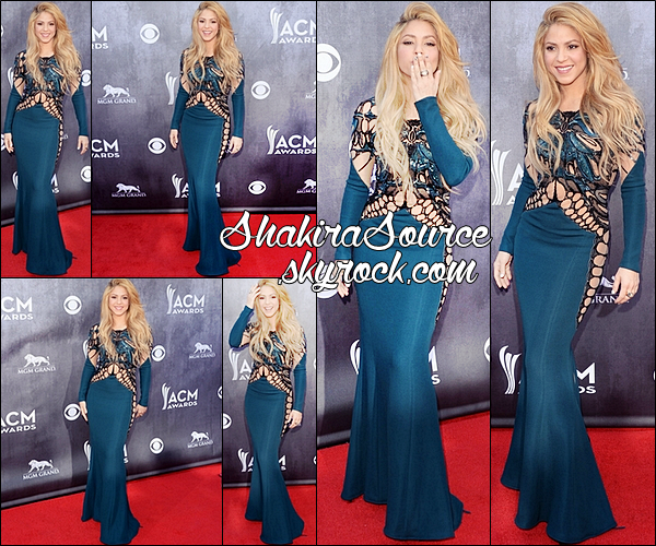 06 Avril 2014  | Shakira est allée au « 49th Annual Academy Of Country Music Awards » au MGM Grand Hotel & Casino de Las Vegas.   La tenue: Shakira porte une robe Zuhair Murad (la bleue) puis une robe Kristian Aadnevik (la rouge) & des bottes Christian Louboutin.
