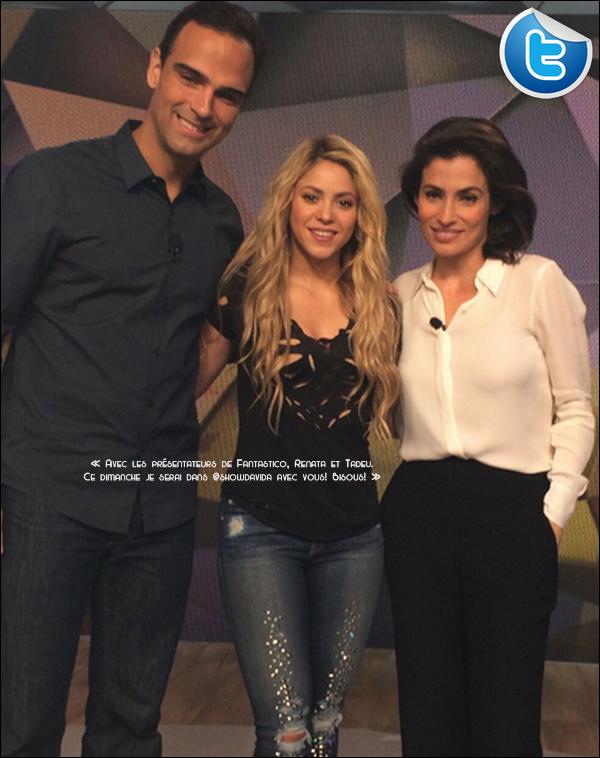 🎤 Shakira est allée sur le plateau de l'emission « Fantastico » où elle y a chanté 3 chansons. 1o Juillet 2014 - Rio de Janeiro, Brésil.