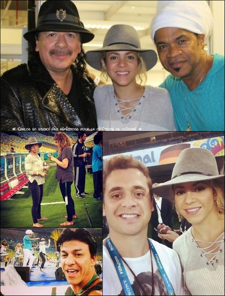 11 Juillet 2014  | Shakira est allée « au stade Maracana » pour répéter la cérémonie de clôture, à Rio de Janeiro, Brésil.   Shakira y chantera uniquement La La La avec Carlinhos Brown.