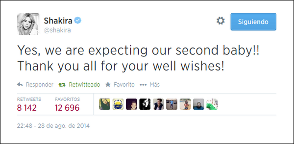 🚼 Shakira annonce sa deuxième grossesse.  28 Août 2014, Barcelone.