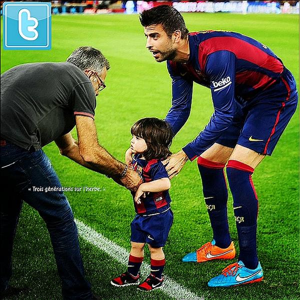 ⚽ Shakira, Milan, Tonino & Joan Piqué sont allés voir le match Fc Barcelone/Eibar au Camp Nou.   18 Octobre 2014, Barcelone.