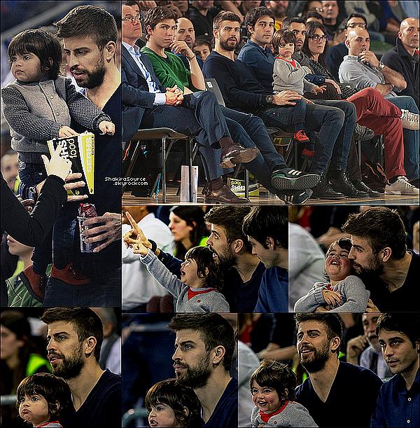 🏀 Le soir, Gerard & son frère Marc, ont emmenés Milan à un match de basket au Palau Sant Jordi. 12 Février 2015. Barcelone, Espagne.