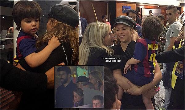 🍴 Shakira, Milan, Sasha & Montserrat sont allés encourager Gérard au « Camp Nou ». 23 Mai 2o15. Barcelone, Espagne.