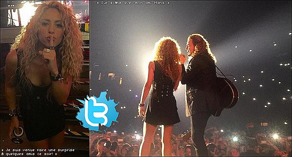🎤 Shakira a chanté Mi Verdad lors du « Concert de Maná » au Palau Sant Jordi. 06 Septembre 2015 - Barcelone, Espagne.