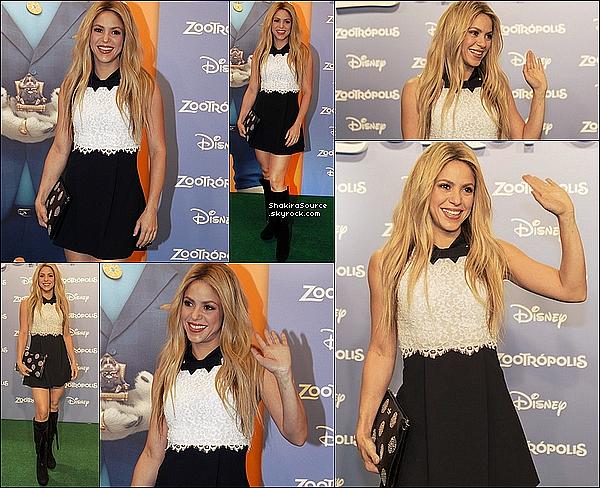 🎥 Shakira est allée au « Cinesa Diagonal » pour la « Première de Zootropolis (Ou Zootopia) », dessin-animé dans lequel elle double la voix de la Gazelle. Milan était présent lui aussi o3 Février 2o16 - Barcelone, Espagne.