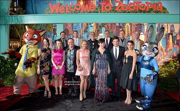 🎥 Shakira est allée à la « Première de Zootopia » qui se déroulait à « El Capitan Theatre ». 17 Février 2o16 - Los Angeles, Etats-Unis.