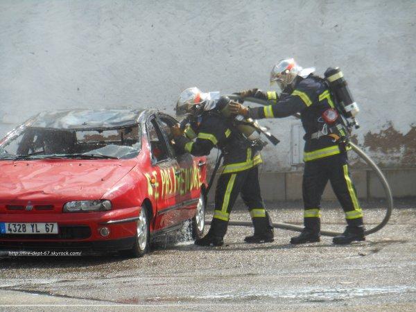 Manoeuvre Feu de VL GPL, Sapeurs-Pompiers de Barr.
