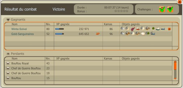 Up 52 and record d'xp du sacri :)