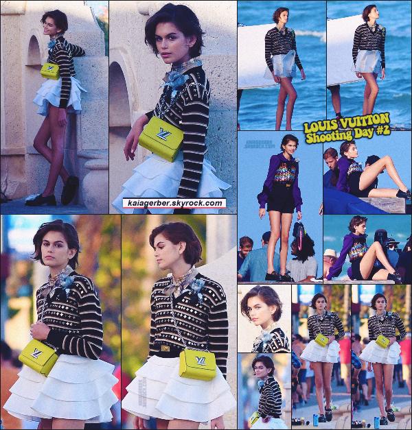 14/01/20 -Miss Kaia Gerber a été encore une fois vue en plein shoot pour la marque LOUIS VUITTON, à Miami ! Même vu de loin ces ptit sacs signés LV sont trop mims ! Hâte de voir les photos finale, elles vont être magnifique ! ••