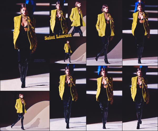 - Kaia Gerber défilait pour la marque Saint Laurent à la Fashion Week de Paris, FR. -