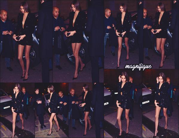 27/02/20 - La jolie Kaia Gerber a été aperçue arrivant au dîner Yves Saint Laurent à Paris !