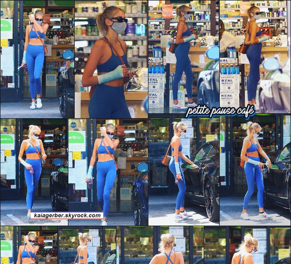 19/06/20 - C'est pause café après le sport pour Kaia qui a été aperçue sortant d'un café de L.A !