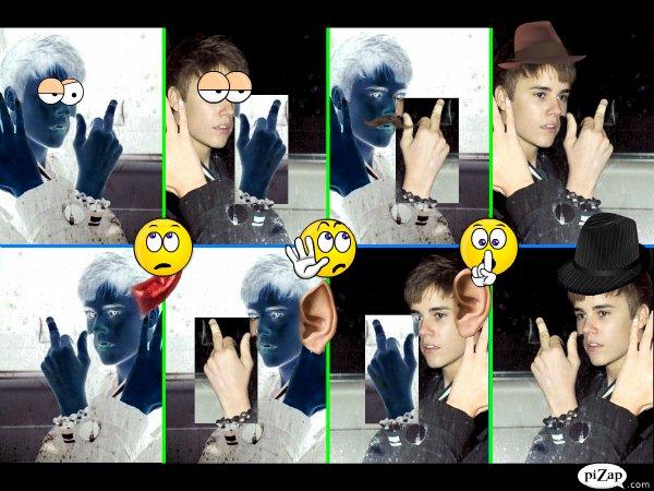 Montage pour le doigt d'honneur de Justin Bieber aux Journalistes
