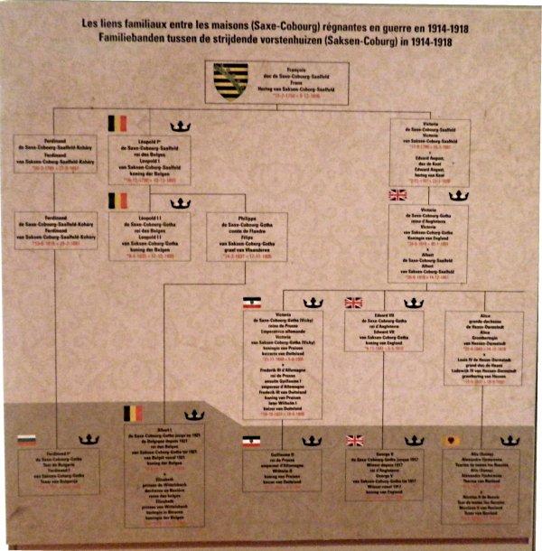 Les liens familiaux entre les maisons (Saxe-Cobourg) régnantes en guerre en 1914-1918.