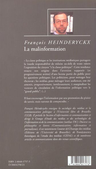 [Compte rendu d'un essai]François Heinderyckx « la malinformation, Plaidoyer pour une refondation de l'information »
