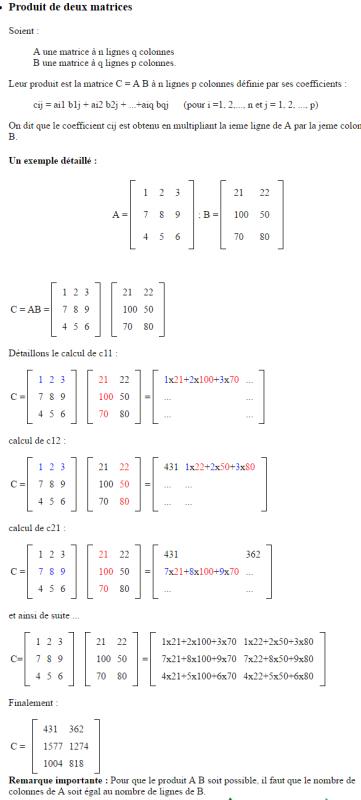 [Aide Math]L'addition et la multiplication matricienne