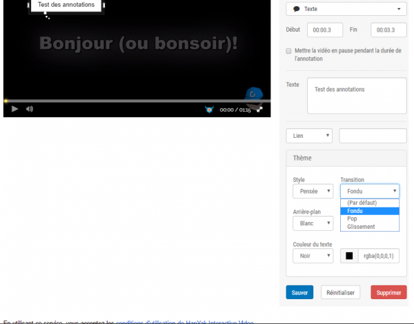 Les annotations sur Dailymotion