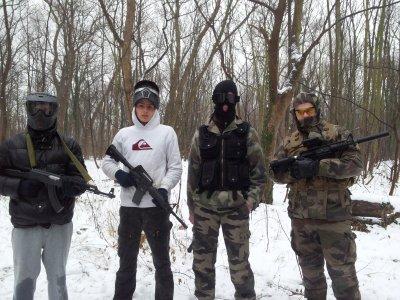 l'équipe dans la neige