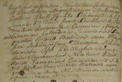 Chrzest Ludwiki i Barbary Pienkowskich - Biala 1783 rok