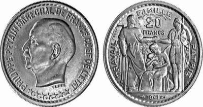 Le franc sous l'ETAT FRANCAIS 1) contexte historique.