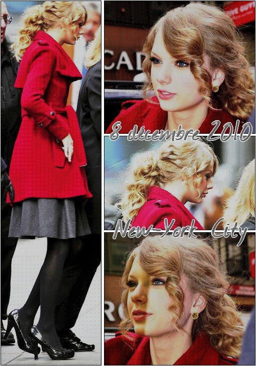 1 Candids : 1  1  Taylor était de sortie ce mercredi 8 décembre , elle a été aperçu sortant de son hotel de New-York . Coté tenue , Taylor arbore un manteau aux couleurs de Noël qui lui va très bien . J'aime beaucoup ses escarpins   $)  ! Pour moi c'est un TOP . Que pensez-vous de sa tenue ?  :)   1   [ Ajoute moi a tes favoris ]   1