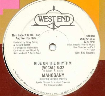 Mahogany Feat Bernice Watkins - Ride On The Rhythm 1982