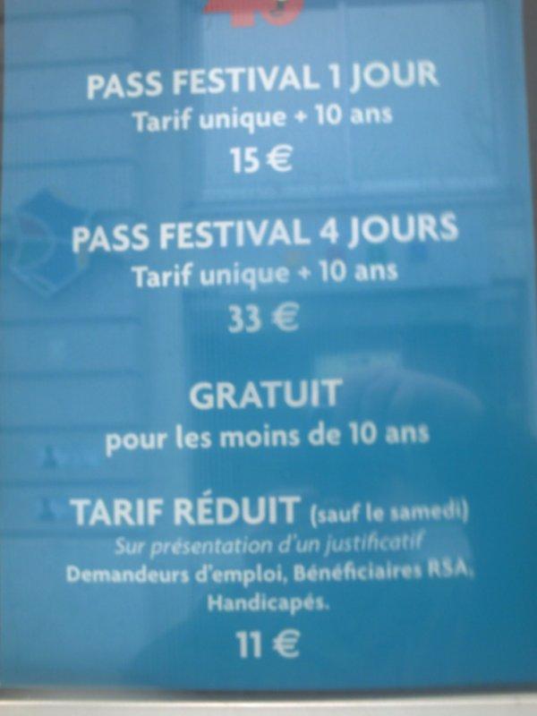 tarif du pass du festival de la BD 2013