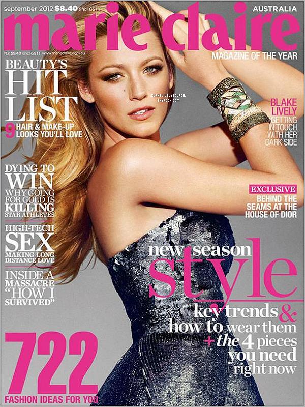 . Blake est en couverture du magazine Marie Claire Australien - Septembre 2012 .