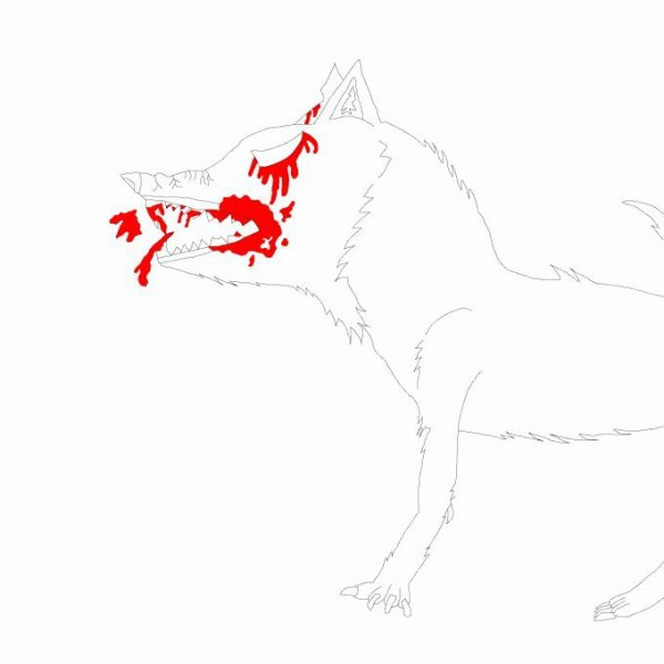 Wolf base (lineart) : bloody