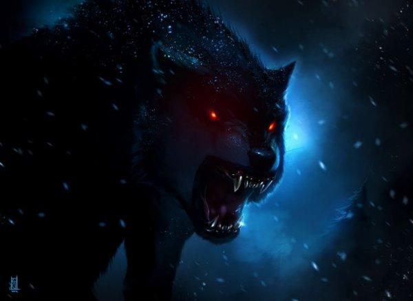 Les yeux rouges sangs perçants dans la nuit