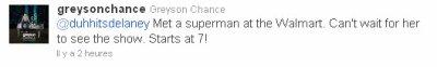 Il y a 2heure Greyson à poster un message sur Twitter assez drôle. Greyson va rencontrer SUPERMAN !