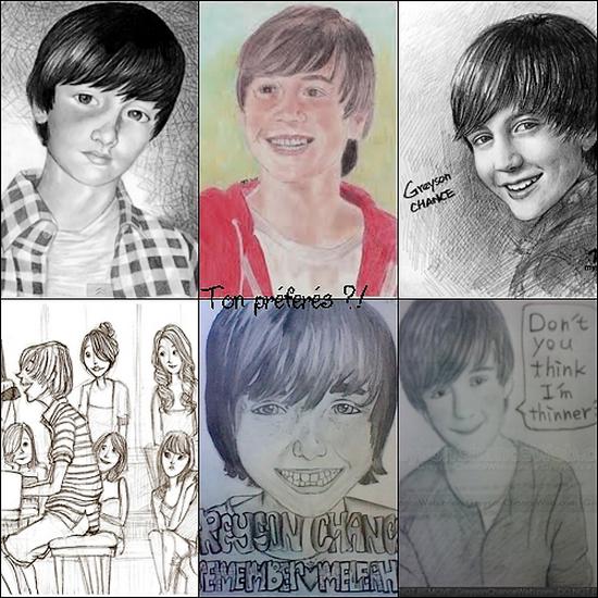 26/11/2011| J'ai découvert plusieurs dessins de Greyson Chance. Lequel est ton préférés !? Sur la dernière vidéo, on peut le voir à la 17s !