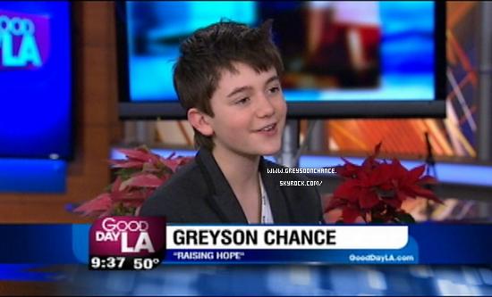 05/12/2011| Greyson Chance était sur le plateau de Good Day. voir vidéo
