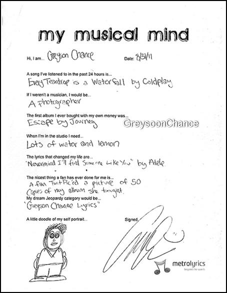 """- 26.12.2011: Greyson Chance a répondu à un sondage 'Mon esprit musical"""" le 31/08/2011, est la date et il a écrit à la main -"""