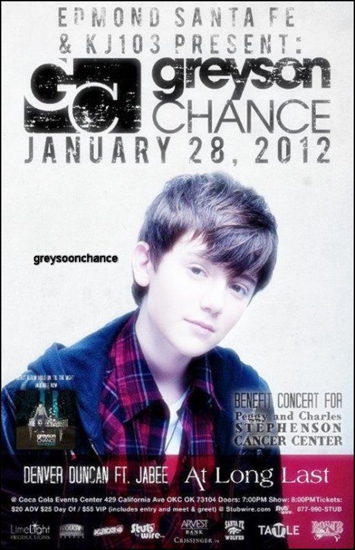 - 30.12.2011: Greyson Chance fera un concert le 28 Janvier à Oklahoma j'aime beaucoup la photo, une belle affiche ! -