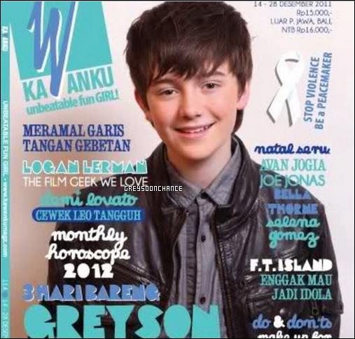 - 31.11.2011: Greyson chance sur le magazine Kawanku en Idonésie. 01.01.2012: Greyson chance au concert des Coldplay. -