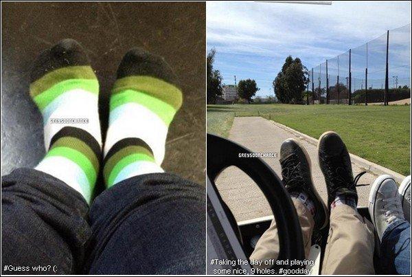 _ 02.04.2012 - Greyson Chance faisant du Golf, toujours avec ses converses.(photo 2) 06.04.2012 - Ses chaussettes sont très belles, haha les couleurs sont.. sympas. (photo 1) _