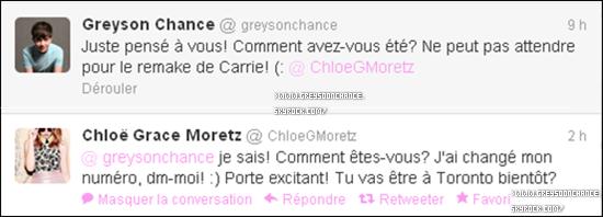 - 26/06/2012 : Greyson et Chloe Grace Moretz se sont parlés sur Twitter, amis ou un petit peu plus ? -