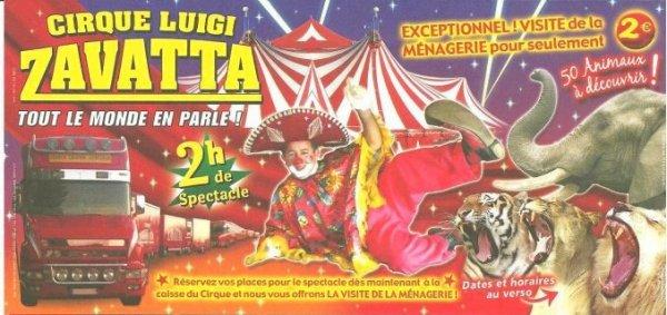 Flyer du cirque Luigi Zavatta