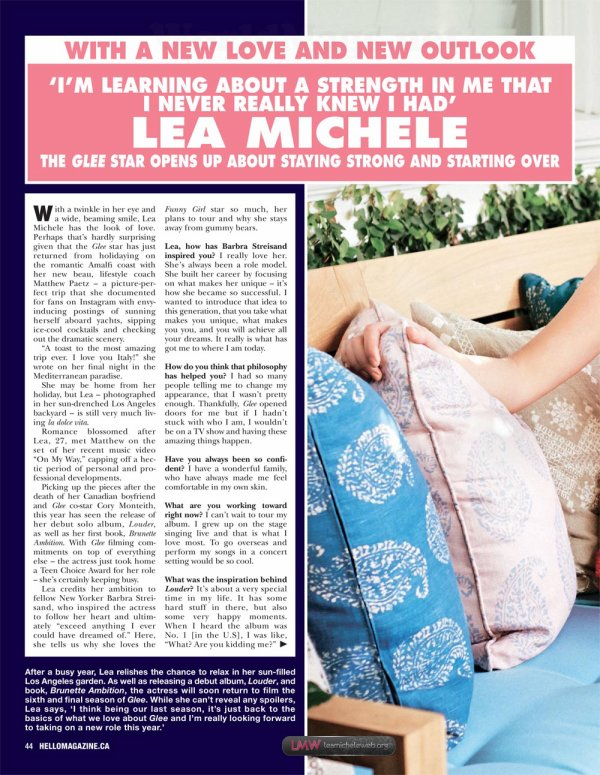 "Lea Michele for ""Hello Magazine Canada"""
