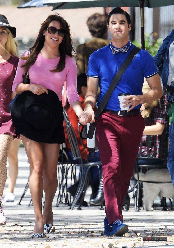 Lea et Darren sur le set de Glee