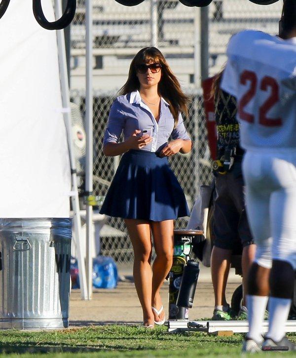 Lea sur le set de Glee