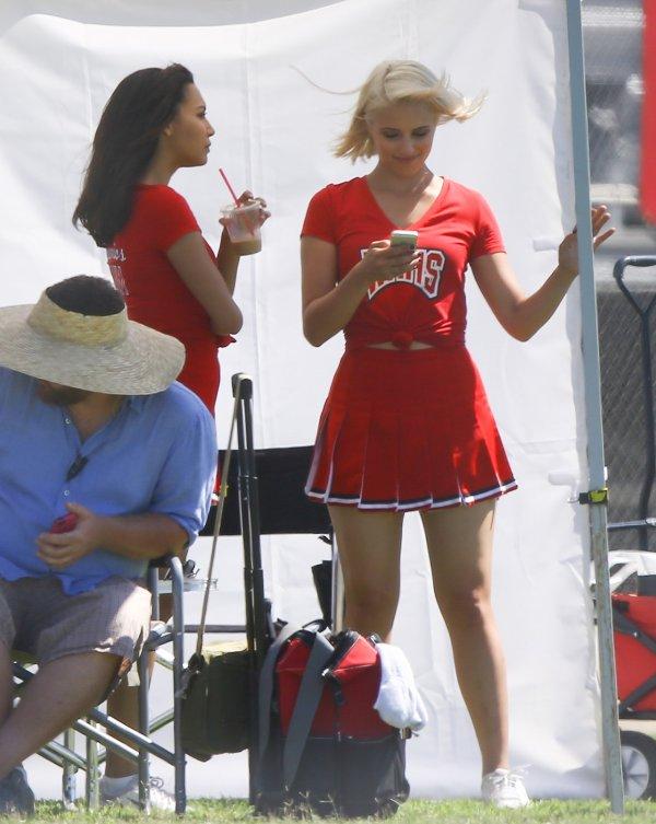 Naya and Dianna on the set of Glee