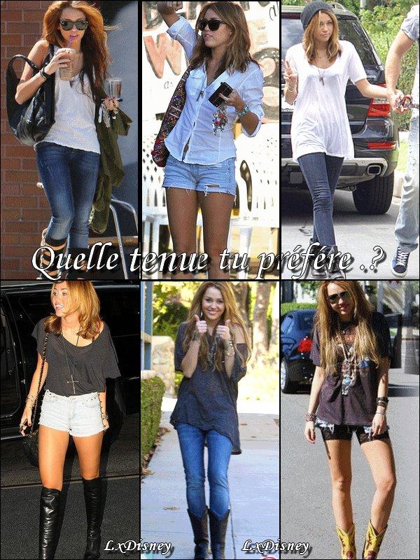 Miley cyrus & Ces Style .! Tu Préfére quelle Tenue .? Que pense-tu de chaque tenue .?