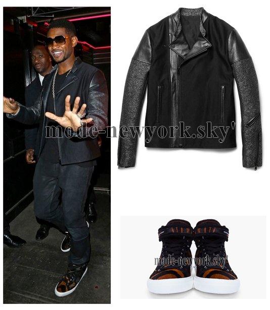 Usher avec son look fashion boy il n'a pas hésitez de mettre sa jacket Balenciaga Biker  et ces Sneakers Pierre Hardy Tiger Print