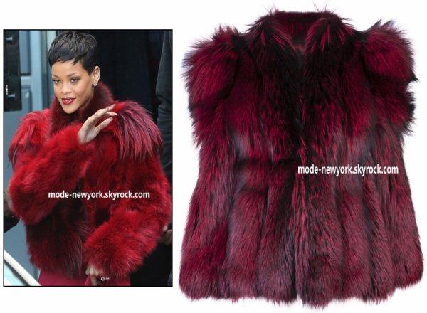 Rihanna en manteau GVGV Oversized fur coat au prix de 7593.82 ¤ quand on parle de la vrai  fourrure à ce prix sa ne m'étonne pas