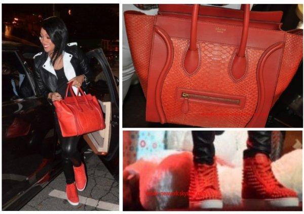 Monica porte des louboutin comme chaussure et un sac celine